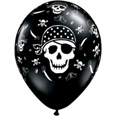 "11"" Printed Latex Balloons, Pirate's Skull Onyx Black, Qualatex 12566"