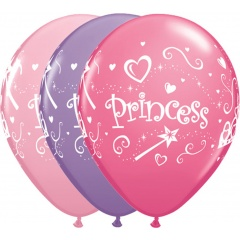 "11"" Printed Latex Balloons, Princess, Qualatex 76815"
