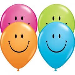"11"" Printed Latex Balloons, Smiley, Qualatex 85107"