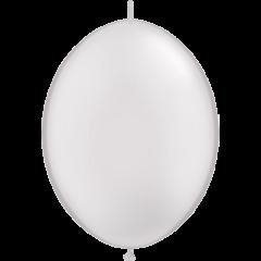 Balon Cony Alb Sidefat, 12 inch (30 cm), Qualatex 65246
