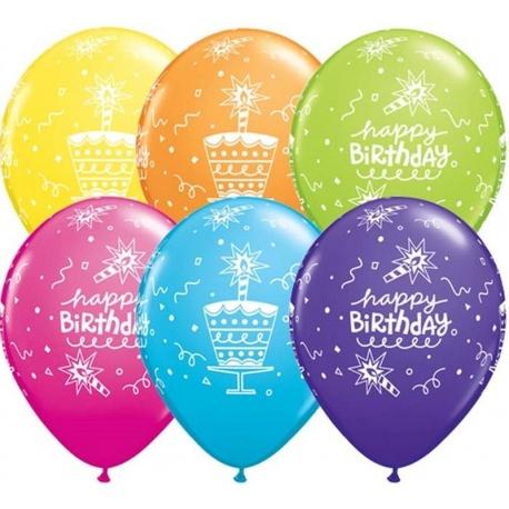 Baloane latex 11''/28cm Happy Birthday asortate, Qualatex 18374