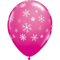 "11"" Printed Latex Balloons, Snow Flakes, Qualatex 40800"