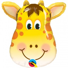 Balon Mini Figurina 36 cm Girafa, umflat + bat si rozeta, Qualatex 41790