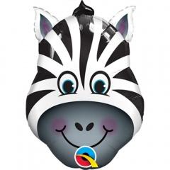 Balon Mini Figurina 36 cm Zebra+ bat si rozeta, Qualatex 41796