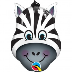 Balon Mini Figurina Zebra - 36 cm, umflat + bat si rozeta, Qualatex 41805