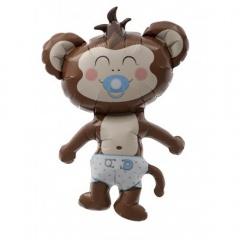 Balon mini figurina Baby Boy Maimutica baietel - 36cm, umflat + bat si rozeta, Northstar Balloons 00410
