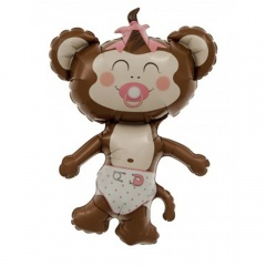 Balon mini figurina Baby Girl Maimutica fetita - 36cm, umflat + bat si rozeta, Northstar Balloons 00411