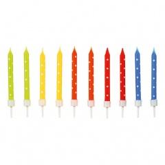 Lumanari aniversare cu suport pentru tort multicolore cu buline albe, Amscan 9900924, Set 24 buc