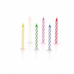 Lumanari aniversare cu suport pentru tort multicolore cu spirale, Amscan 5053, Set 24 buc