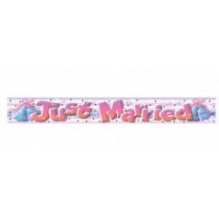 Banner Folie Just Married 3.63 m, Amscan, 992960, 6 buc