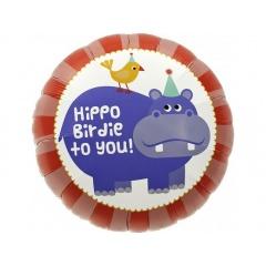 "Hippo Birdie Foil Balloon - 18""/45cm, Northstar Balloons 00347"