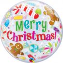 "Balon Bubble 22""/56cm Qualatex, Merry Christmas, 43434"