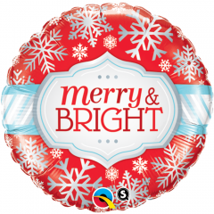 "Balon Folie 45 cm ""Merry & Bright"", Qualatex 18945"