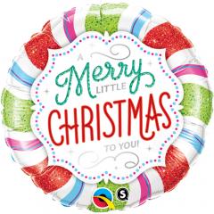 "Folie 45 cm ""A Merry Little Christmas To You'', Qualatex 18953"
