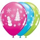 "11"" Festive Winter Scene Latex Balloons, Qualatex 40075"