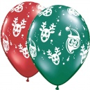 "Baloane latex 11"" inscriptionate Santa & Rudolph, Qualatex 65049"