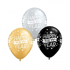 "Baloane latex 11"" inscriptionate Happy New Year, Qualatex 22741"