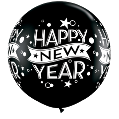 "Balon latex Jumbo 30"" inscriptionat Happy New Year, Qualatex 19175"