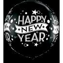 "Balon latex Jumbo 30"" inscriptionat Happy New Year, Qualatex 19175"