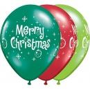 "Baloane latex 11"" inscriptionate, Merry Christmas, Qualatex, 27712"