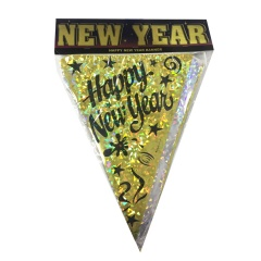 Ghirlanda decorativa fanioane Happy New Year -  3.60 m, Radar 52189, 1 buc