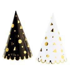 Coif petrecere alb/negru cu auriu pentru Revelion, Radar 45498, Set 6 coifuri