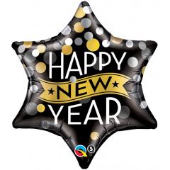 Folie 56 cm Happy New Year Star, Qualatex 19035