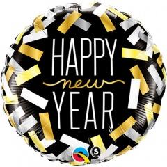 """Folie 45 cm """" Happy New Year """", Qualatex 43531"""