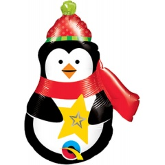 "Balon Folie Mini-Figurina Pinguin - 14""/35 cm, umflat + bat si rozeta, Qualatex 43459"