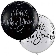 3' Printed Jumbo Latex Balloons, Happy New Year, Qualatex 40192, Pack of 2 pieces