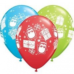 """11"""" Penguins and Gifts Latex Balloons, Qualatex 47782"""