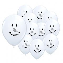 "5"" Printed Latex Balloons, Smile face Snowman, Qualatex 67522"