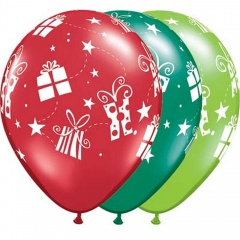 "11"" Gifts and Stars Printed Latex Balloons, Q 60126"