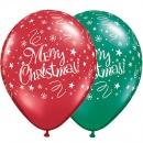 "Baloane latex 11"" inscriptionate, Merry Christmas, Qualatex, 14610"