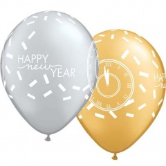 "Baloane latex 11"" inscriptionate Happy New Year, Qualatex 46512"