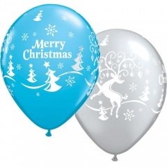 "Baloane latex 11"" inscriptionate Merry Christmas, Qualatex 68955"