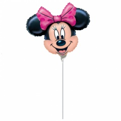Balon Mini Figurina Minnie Mouse, Umflat + Bat si Rozeta, Amscan, 24 cm, 07890