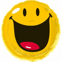 Smiley Face Yellow Foil Balloon, Amscan, 45 cm, 27443
