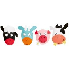Masti copii pentru petrecere - Farm Fun, Amscan 9900389, Set 8 buc