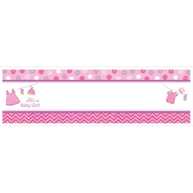 banner decorativ roz pentru petrecere personalizat it s a baby girl