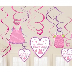 Tweet It's a Baby Girl Swirl Value Pack Decorations, Amscan 671489. Pack of 12 pieces