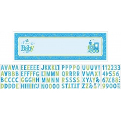 Banner bleu pentru petrecere personalizabil Welcome Baby Boy  165.1 X 50.8cm, Amscan  121460