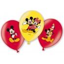 Baloane latex 28cm inscriptionate Mickey Mouse, Amscan 999240, Set 6 buc