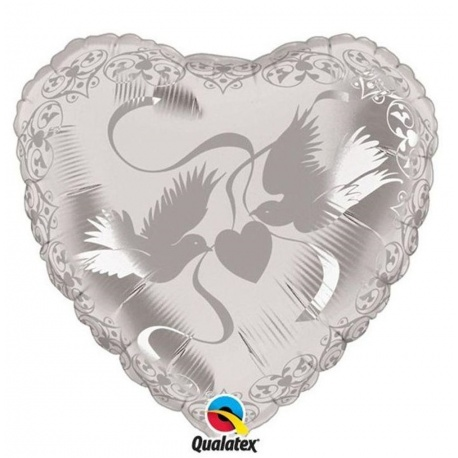 "Crystal Doves Heart Silver Foil Balloon, Qualatex, 24"", 81658"