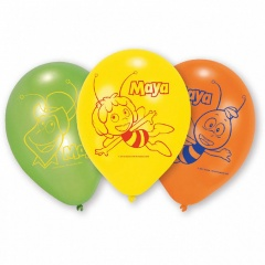 "8"" Printed Latex Balloons, Bee Maya Assorted, Amscan 450290, Pack of 6 pieces"
