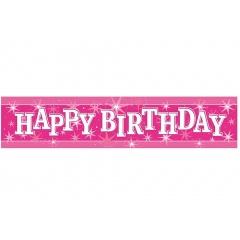 Banner decorativ roz pentru petrecere 2.6m, Happy Birthday, Qualatex 45552, 1 buc