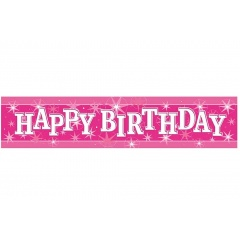 Pink Happy Birthday Foil Banner 2.60 m, Qualatex 45552, 1 piece
