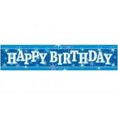 Banner decorativ albastru pentru petrecere 2.6m, Happy Birthday, Qualatex 45553, 1 buc