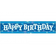 Blue Happy Birthday Foil Banner 2.60 m, Qualatex 45553, 1 piece
