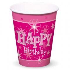 Pahare carton Happy Birthday pentru petrecere,  250ml, Qualatex 45621, Set 8 buc